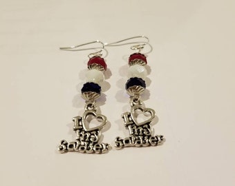 Love my soldier earrings