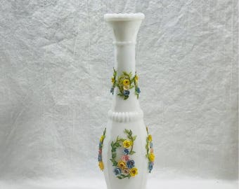 Vintage Milk Glass Vase with Applied Flowers