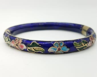 Vintage Blue Floral Hinged  Cloisonne Bangle Bracelet