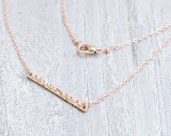 Minimalist Rose Gold Necklace, Rose Gold Bar Necklace, Dainty Bar Necklace, Simple Necklace, Everyday Necklace, Simple Rose Gold Jewelry