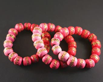 Beaded stretch bracelet - womans bracelet - pink jewelry - pink bracelet - polymer clay - pink and gold - colorful bracelet colorful jewelry