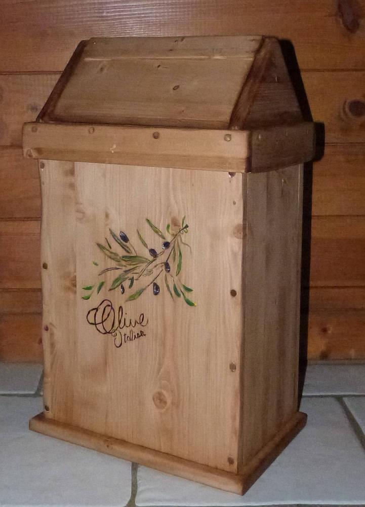 Poubelle corbeille artisanale en bois deco cuisine salle de - Poubelle en bois ...