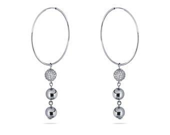 El Elegant-Creole with Pavé ball pendant-Silver