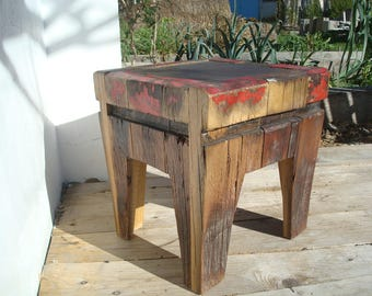 Stool, table coffee, end table, nightstand. Reclaimed wood.
