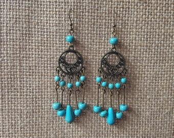Turquoise Earrings Turquoise Bronze earrings boho earrings chandelier