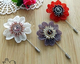 Beaded Flower Brooch - More colours - (Free UK delivery)