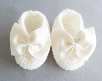 Ballerinas(Ballet pumps) woolen baby - shoes baby - white shoes - baby