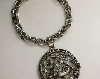 Vintage German Pewter Capricorn Fob Bracelet