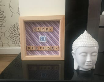 80th Birthday Box frame with cross stitch numbers in blue