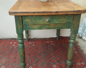 Small old pine rustic vintage kitchen table