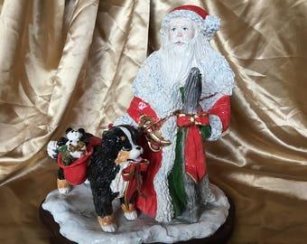 Bernese mountain dog with santa