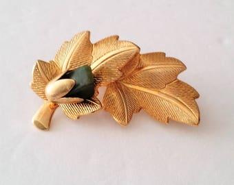 Gold Tone Green Gemstone Leaf Brooch