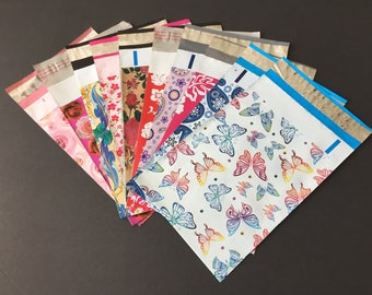 100 Piece Assortment 6x9 Designer Poly Mailers 10 Each Roses Butterflies Little Red Flowers Hibiscus Roses Paisley Shipping Bags Mailers