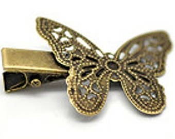 Filigree Butterfly hair clip shipping Bronze 4 x 2, 7 cm