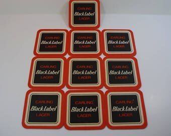 10 Vintage Carling Black Label Beer Mats,Advertising, Breweriana, Vintage Barware, Retro Home Bar, Man Present