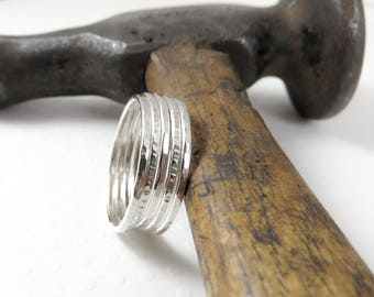 Stacking Rings Set of 5, Sterling Silver Ring, Thin Stackable Rings, Thumb Ring