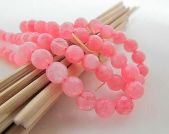 Jade bead, faceted pink jade - gemstone 10 mm, 8 mm, 6 mm - 506