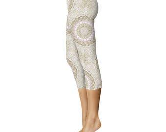 Capris Leggings - Spring Flower Mandala Yoga Pants, Printed Abstract Floral Leggings, Art Leggings