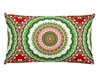 Holiday Pillows, Lumbar Christmas Pillows 20x12, Christmas Decor for Home, Red and Green Rectangle Cushion