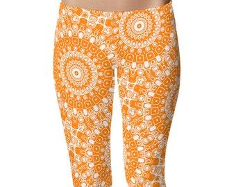 Orange Leggings, Orange Yoga Pants, Womens Printed Leggings, Yoga Bottoms