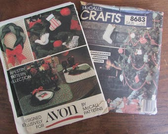 McCall's Craft's Christmas Candlewicking 8683 and Avon Tapestry Pattern Collection 1980s
