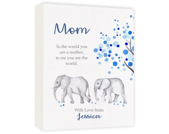Mom Gifts, A Personalized Canvas Gift for Mom for Christmas or Birthday, Natural History Elephant Art