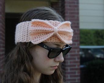 Coral Bow Adult Crochet Headband
