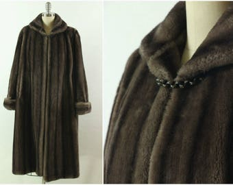 SALE!!  Vintage Faux Fur Glenara Full Length Coat, 1950s Faux Fur Swing Coat, Vintage Coat, M-L