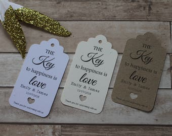 Personalised Rustic Wedding Favour Tags- The key to happiness is love