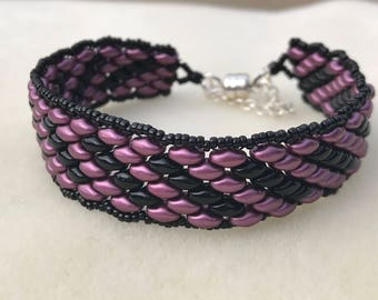 Purple and Black Super Duo Bracelet