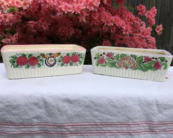 Vintage Ceramic Handpainted Japanese Planters, Cottage or Shabby Decor