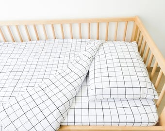 Kids Toddler Bedding Set, Grid, Twin Sheets Set, Fitted Sheet, Monochrome Bedding Set, Minimalist Toddler Boy Bedding, Black White