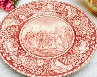 """Lovely Vintage British Anchor Pottery Plate """"The Landing of the Pilgrims"""""""