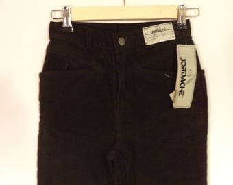 NEW 80s high waist JORDACHE pants// Dead stock vintage// Skinny straight leg black cords// Women's 3/4 XS small 26 W