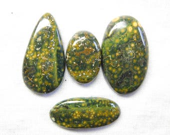 100% NATURAL Mohave Ocean jasper mix 4 piece cabochone superb gemstone 142.20cts