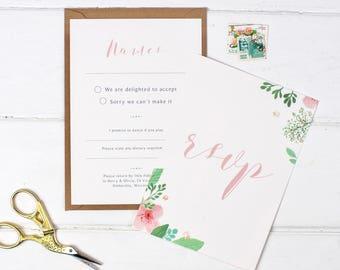 Floral Wedding RSVP - Pretty Pink Wedding RSVP - Wedding Stationery - Invitation Suite - Save the Date