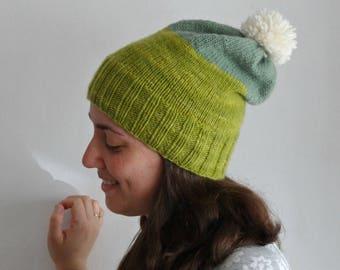 Knitted pom pom slouchy hat 100 % merino wool / winter accesory