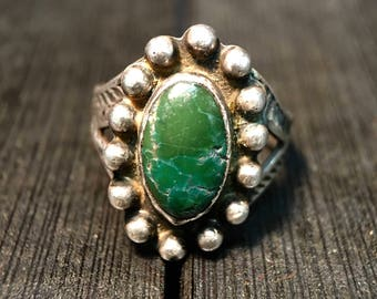 Vintage Navajo Sterling Silver/ Green Turquoise Ring #270