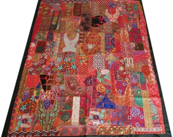 Vintage Sari bedspread, patchwork bedcover, indian bedding, sari throw, king size, boho hippie bedcover, blue tapestry