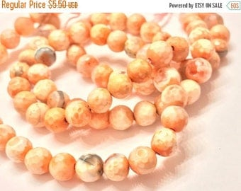 40% OFF FLASH SALE Gorgeous Luxe Orange Beige Agate Faceted 6mm Round Gemstone Beads, Agate Beads, Orange Agate, Beige Beads, Faceted Beads,