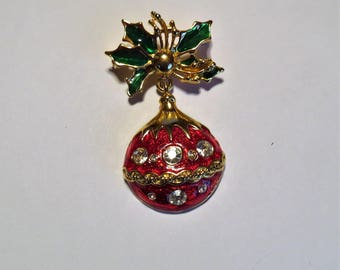 Festive Christmas Ornament Holiday Brooch