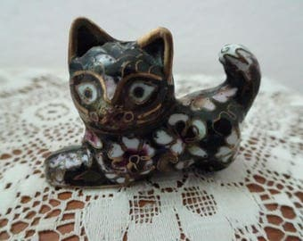 Darling Antique Miniature Cloisonne Cat Free Shipping.