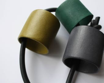 Hand Made Bold Ceramic Necklace in Shades of Green and Grey
