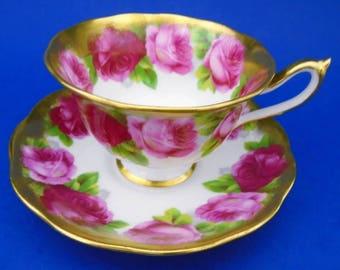 Royal Albert Old English Rose Heavy Gold Avon tea cup and saucer, royal albert teacups, royal albert china, english teacup, rose teacup