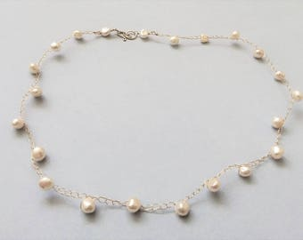 Gold Chain Beaded Necklace, White Freshwater Pearls Neckalce, Minimalist Necklace, Everyday Necklace, Simple Necklace, Bridal Necklace, Gift