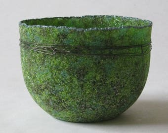 pate de verre (glass) green vessel with steel wire g17-077