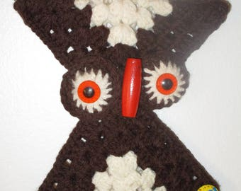 1970's Retro Owl Hand Crocheted Wall Hanging Towel Holder! #LM
