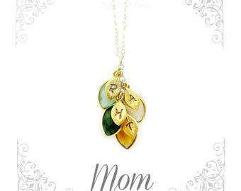 Custom Birthstone Necklace for Mom | Mom's Birthday | New Mom | Personalized Gemstone Necklace | Family Tree | Mom's Christmas gift