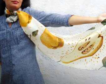 Hand Painted Scarf Christmas gift for mom Yellow white silk scarf  Fruits scarf  Luxury scarf  Designer scarves scarf Birthday gift for wife