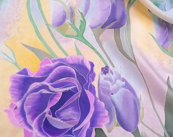 Silk scarf Hand painted Painting on silk Lightweight scarf Gift for women Purple scarf Silk painting Gift for mom Floral painting Original